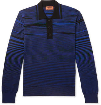 Missoni Striped Wool Polo Shirt - Men - Blue
