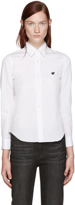 Comme des Garçons Play White Poplin Small Heart Shirt $225 thestylecure.com