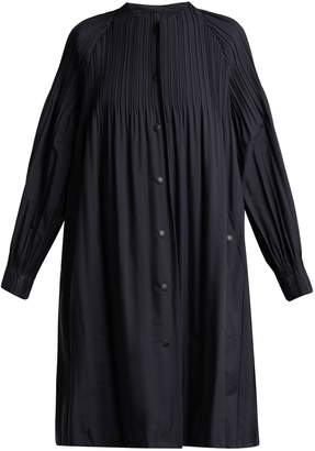 Pleats Please Issey Miyake Collarless pleated parka coat