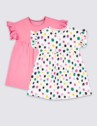 Marks and Spencer 2 Pack Pure Cotton Dress (3 Months - 7 Years)