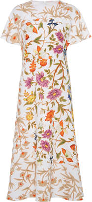Peter Pilotto Floral-Print Hammered Crepe Midi Dress