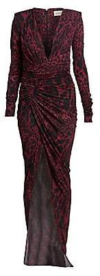 Alexandre Vauthier Women's Lynx Print Crystal Ruched Waist Side Slit Gown