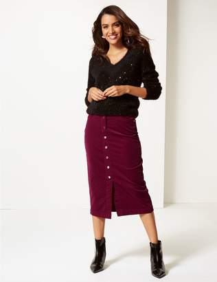 Marks and Spencer Cotton Rich Textured Pencil Midi Skirt