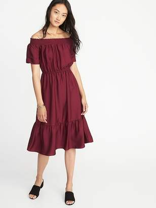 Old Navy Waist-Defined Smocked-Neck Midi Dress for Women