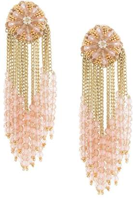 Oscar de la Renta beaded cluster chain earring