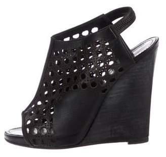 Proenza Schouler Leather Peep-Toe Wedge Sandals