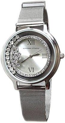 Adrienne Vittadini レディース腕時計クリスタルベゼル腕時計ステンレススチールメッシュシルバートーンブレスレット