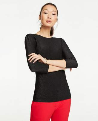 Ann Taylor Petite Shimmer Puff Sleeve Top