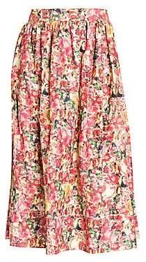 Marni Women's Cotton Poplin Floral Tie Waist Skirt