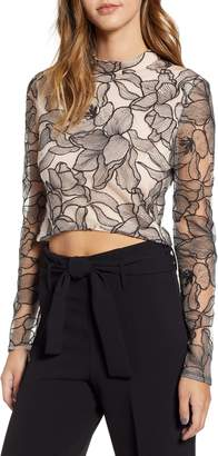 WAYF Mina Cropped Lace Top