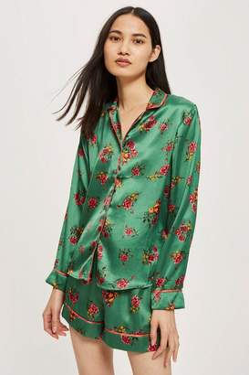 Topshop Green Satin Floral Shirt