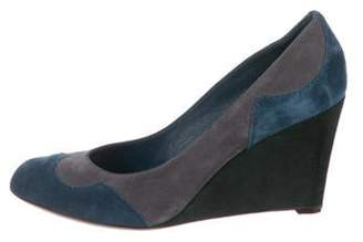 Sergio Rossi Suede Wedge Pumps Grey Suede Wedge Pumps