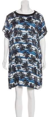 L'Agence Palm Tree Print Mini Dress