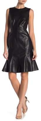 Modern American Designer Faux Leather Flare Hem Dress