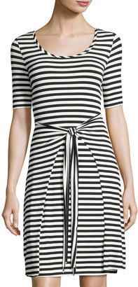 Neiman Marcus Strappy-Back Self-Tie Striped Dress, Black/White $55 thestylecure.com