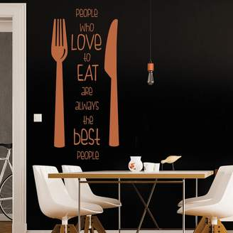 IconWallStickers People Who Love To Eat Knife & Fork Quote Wall Stickers Kitchen Décor Art Decals available in 5 Sizes and 25 Colours Small Cloud Grey