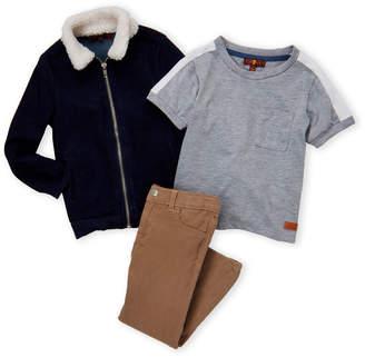 7 For All Mankind Toddler Boys) 3-Piece Denim Jacket & Khaki Pants Set