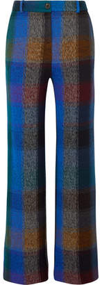 Missoni Checked Wool-blend Wide-leg Pants - Blue
