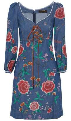 Roberto Cavalli Lace-Up Floral-Print Denim Dress