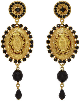 Dolce & Gabbana Gold and Black Crystal Madonna Earrings