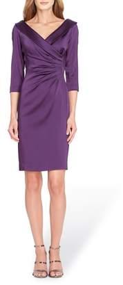 Tahari Portrait Collar Stretch Satin Sheath Dress