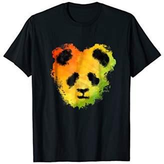 Panda Bear Watercolor T-Shirt Reggae Rainbow Design