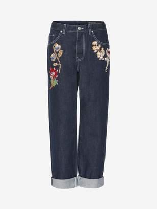 Alexander McQueen Embroidered Boyfriend Denim Jeans