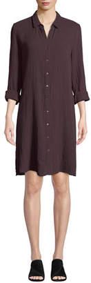 Eileen Fisher Button-Front Long-Sleeve Cotton Gauze Shirtdress, Plus Size