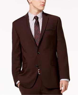 Bar III Men's Slim-Fit Active Stretch Wine Solid Suit Jacket