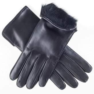 Black Ladies' Rabbit Lined Leather Gloves