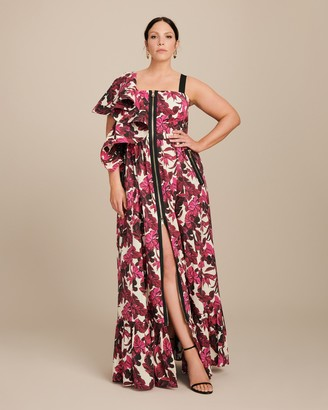 Marina Rinaldi Dragone One Shoulder Ruffle Dress