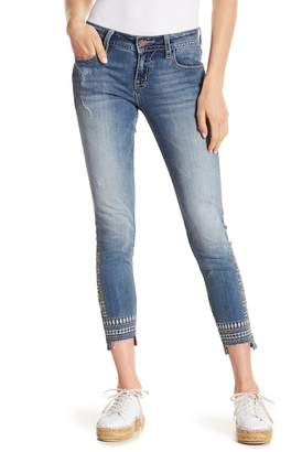 Miss Me Embroidered Step Hem Skinny Jeans