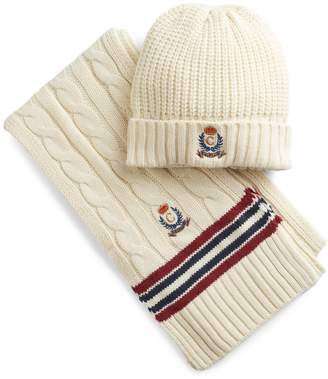 Chaps Men's Cricket Throwback Cable-Knit Hat & Scarf Set
