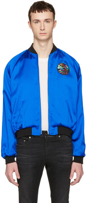 Saint Laurent Blue Teddy 'Sweet Dreams' Shark Bomber Jacket $2,690 thestylecure.com