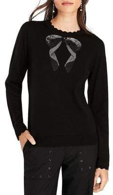 Brooks Brothers Red Fleece Wool Beaded Bow Top