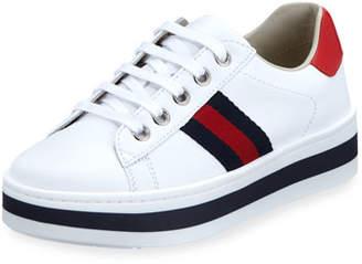 79fce29ce Gucci New Ace Web-Trim Leather Platform Sneakers, Kids