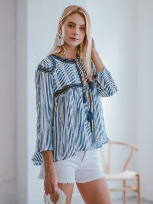 Goodnight Macaroon 'Isela' Striped Embroidered Tied Tassels Boho Top