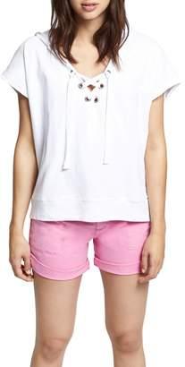 Sanctuary Beachcomber Lace-Up Cotton Short Sleeve Hoodie
