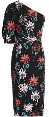 Black Halo Beckham One-Shoulder Floral-Print Crepe Dress