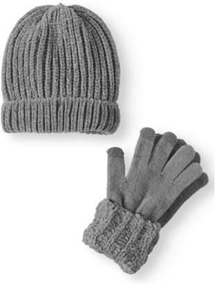 Time and Tru Women's Chenille Beanie & Cuff Glove 2-Piece Set
