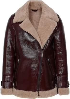 Reiss Payton Patent - Patent Shearling Aviator Jacket in Oxblood