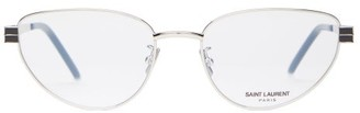 Saint Laurent Cat Eye Metal Frame Optical Glasses - Womens - Silver