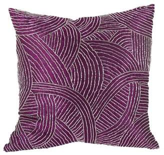 A&B Home Poly Silk Beaded Throw Pillow, Fuchsia, 18 by 18-Inch