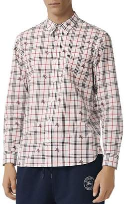 Burberry Edward Equestrian Knight-Print Regular Fit Shirt