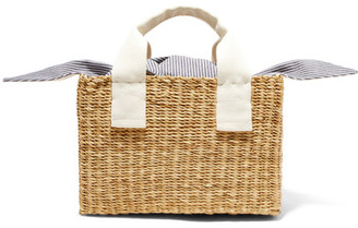 Muun - Ninon Straw And Striped Cotton-canvas Tote - Beige $210 thestylecure.com