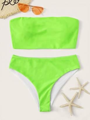 Shein Neon Lime Bandeau With High Leg Bikini Set