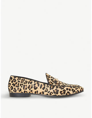 Dune Guiltt leopard-print ponyhair loafers