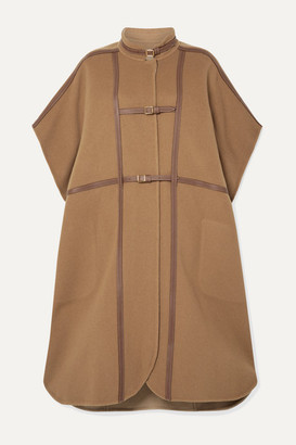 Burberry Leather-trimmed Wool-blend Cape - Light brown