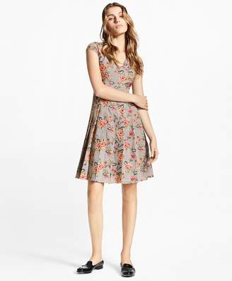 Brooks Brothers Petite Floral-Embroidered Mini-Houndstooth Cotton Dress