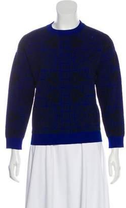 Alexander McQueen Wool-Blend Crew Neck Sweater Blue Wool-Blend Crew Neck Sweater